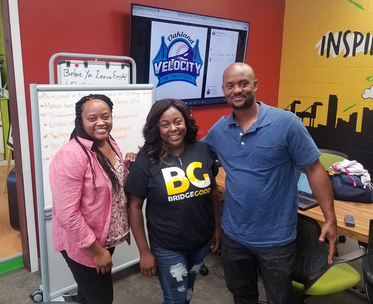 Sharing our knowledge of social media and love for baseball @OaklandDigital! With Cedric &amp; Tamela of @OaklandVelocity and @BRIDGEGOOD Creative, Chanel. #InspireOakland #LoveOakland #OaklandBaseball #OaklandYouth - learn more,  http:// bit.ly/oaklandvelocit ybg &nbsp; … <br>http://pic.twitter.com/vLXe5fzy4N