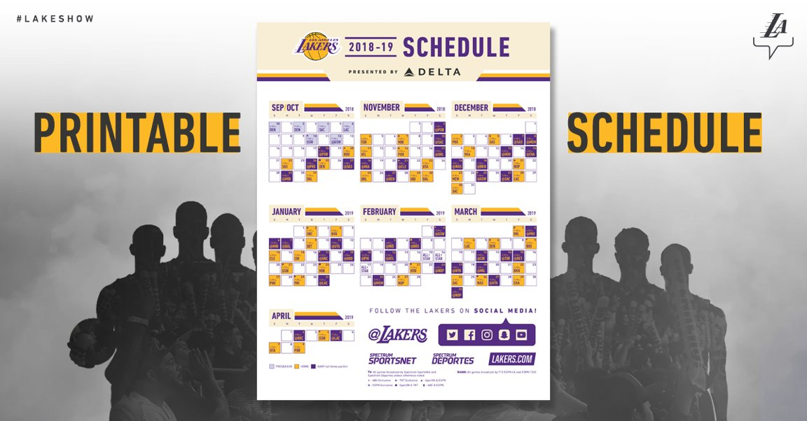 graphic about Lakers Printable Schedule named Los Angeles Lakers upon Twitter: \
