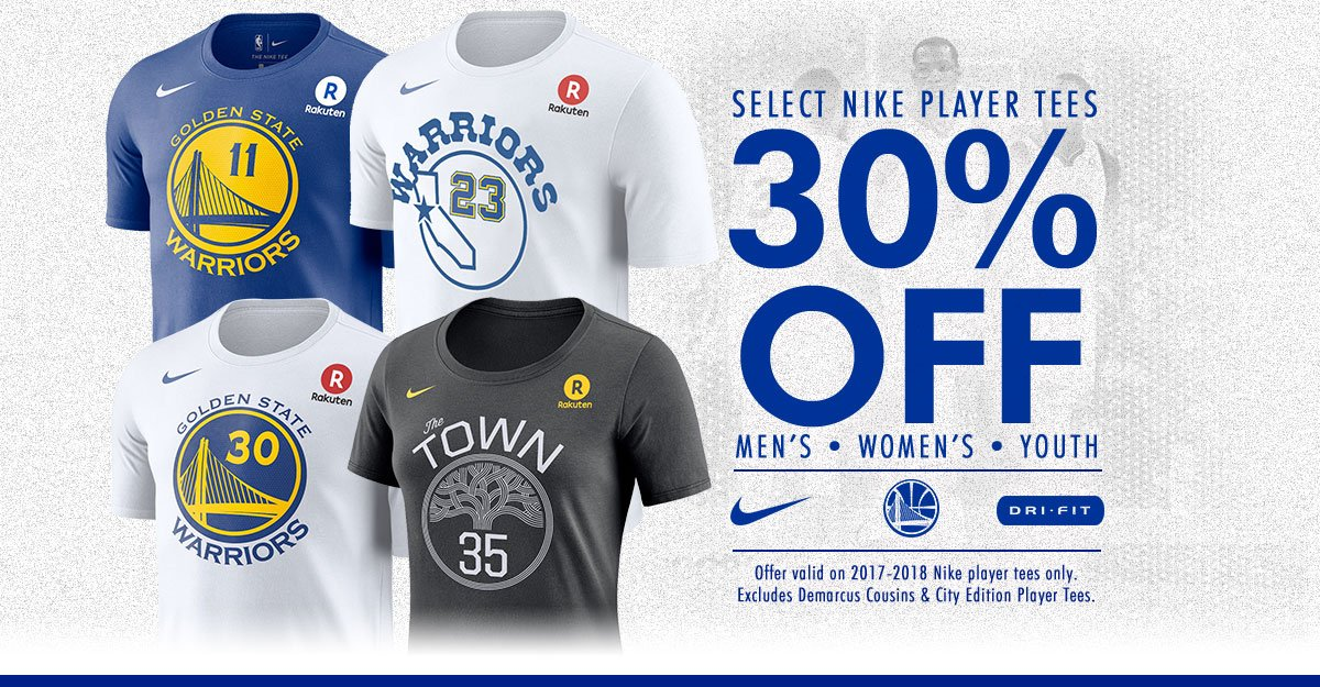 Rep your favorite @warriors Players, #DubNation!!! 30% OFF Select @Nike Player Tees 🏀 🛒-–> bit.ly/PlayerTee30 #GSW #2018NBAChampions #Warriors #GearUp