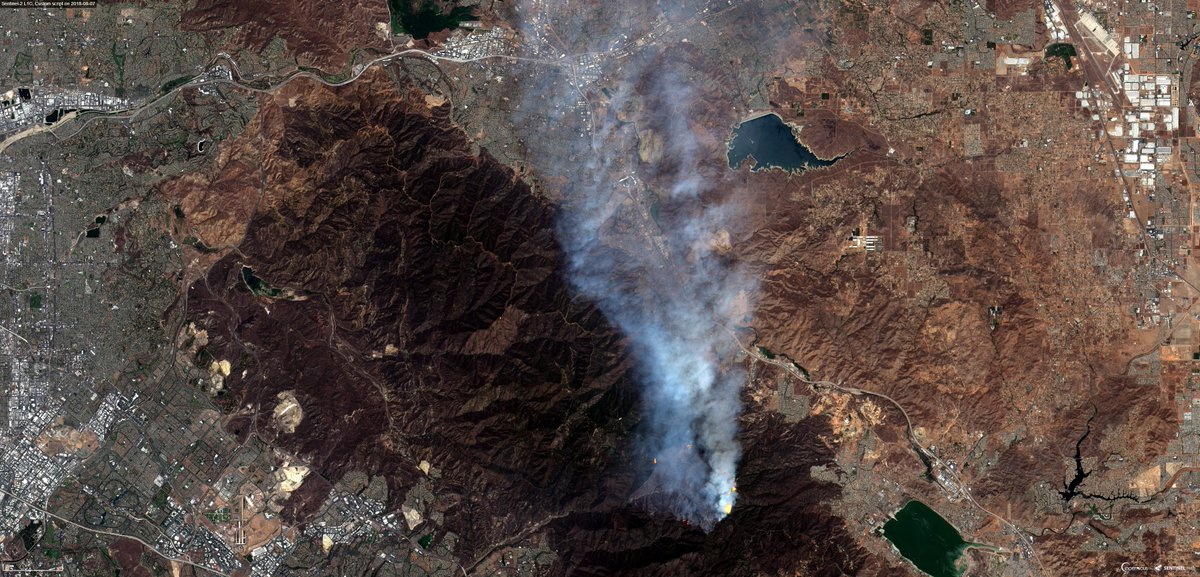 #HolyFire #California #USA  Burned area: 74km2 - 08 Aug 2018 satellite view #Sentinel-2  #Copernicus #EOBrowser 1.NaturalColors 2.FalseColor 3.NIRSWIRColors2 [script by @Pierre_Markuse ] #remotesensing  RT!<br>http://pic.twitter.com/f5BrHcsBKx