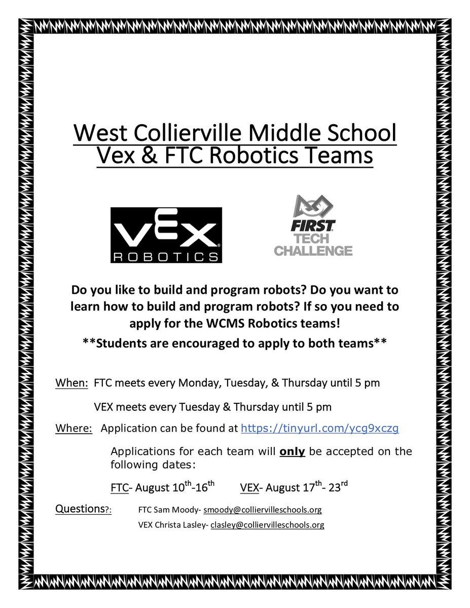 West Collierville Ms On Twitter Ftc Robotics Application Below