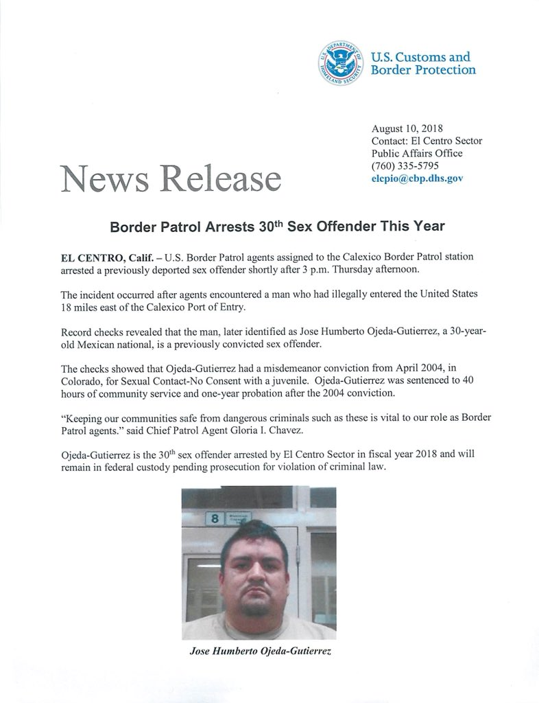 30th Illegal Alien Sex Offender Arrested by CBP El Centro