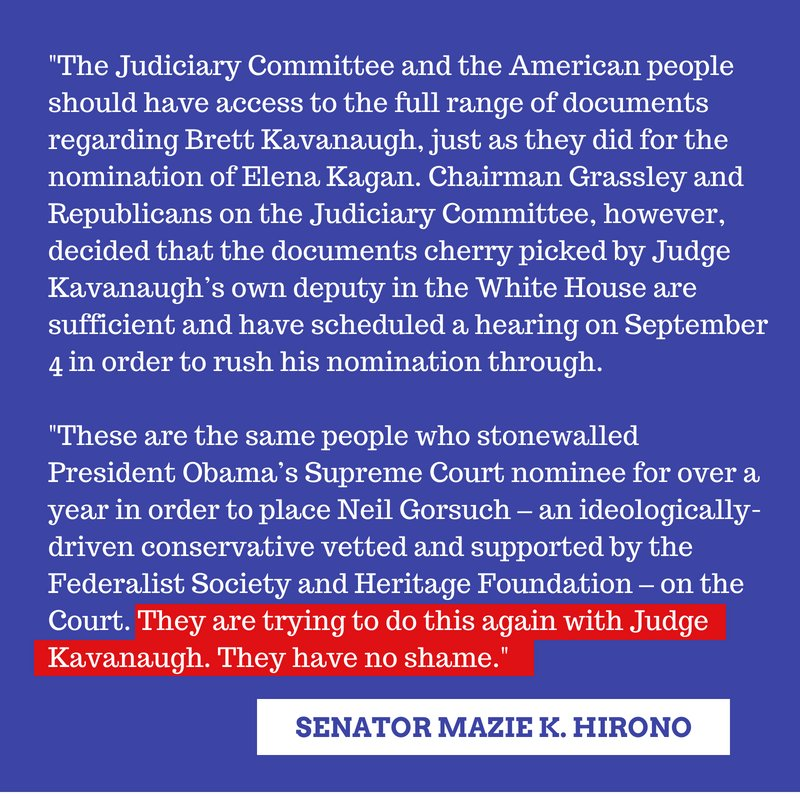 Chairman Grassley &amp; Republicans on the Senate Judiciary Committee decided that the limited documents cherry picked by Judge Kavanaugh&#39;s own deputy in the White House are sufficient and scheduled a hearing on September 4 in order to rush his nomination through. They have no shame. <br>http://pic.twitter.com/VUnEwu5Xw3