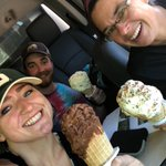 Jake, @BaileyHannah10, and @msu_limno_girl enjoying some massive ice cream cones from the Grindstone City General Store after a successful two days of wetlands fieldwork! #fruitsoftheirlabor