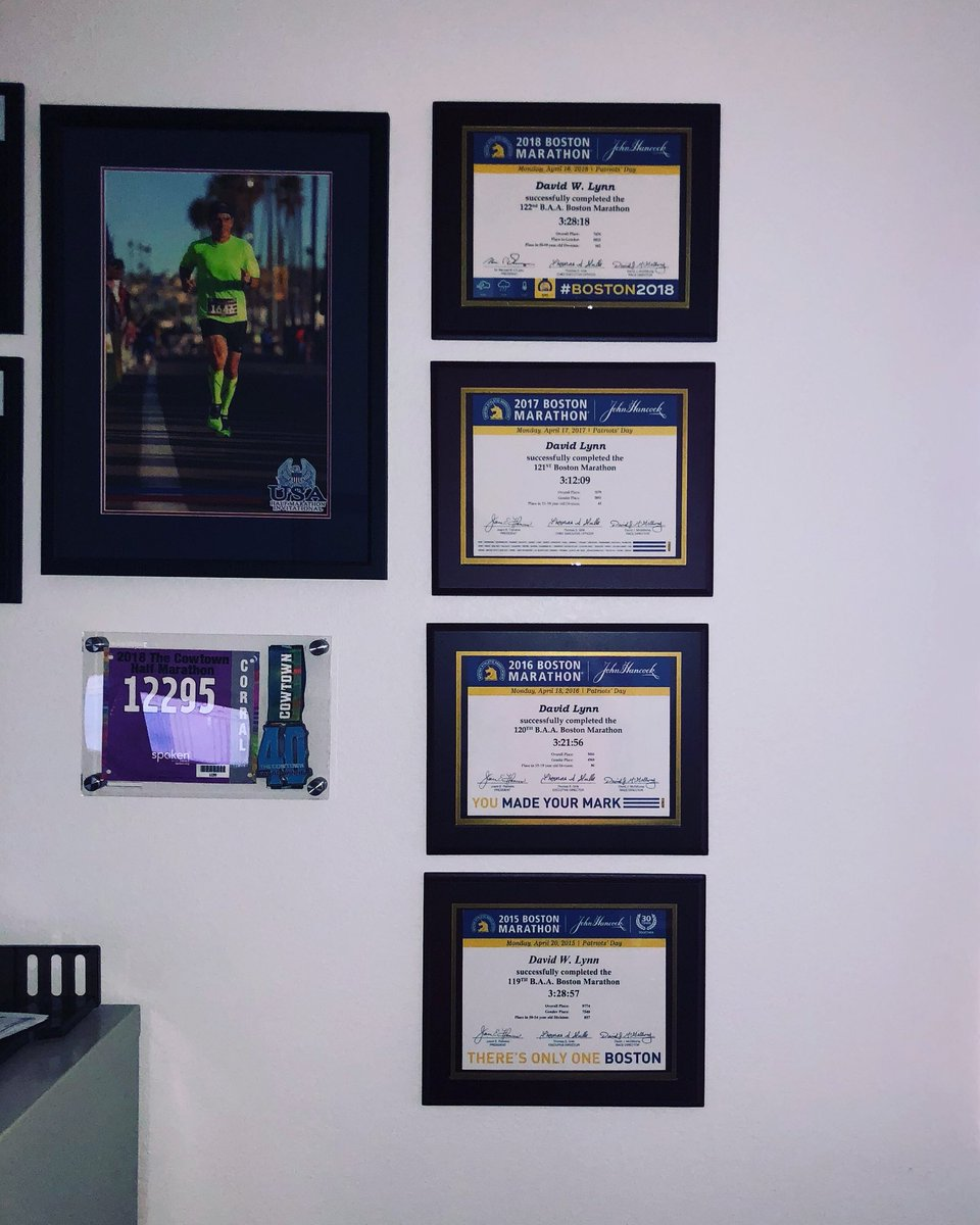 Put up Boston Certificate #4. Signing up for #5 in one month. 5 years ago if you told me I would be running my 5th Boston, I would have questioned your psychosis. Dreams can and do come true! #DreamBig #DreamsComeTrue #bostonmarathon #finisher #cheers<br>http://pic.twitter.com/YS4Q7w1ZyV