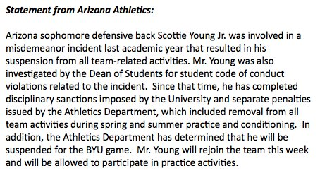 Statement from Arizona athletics on Wildcats sophomore Scottie Young Jr., who will join the team this week but is suspended for the season opener against BYU.