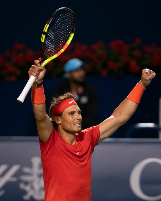 Say it with me: VINTAGE 👏 RAFA 👏 FIGHT 👏 World No. 1 Rafael Nadal comes from a set down to defeat Marin Cilic, 2-6, 6-4, 6-4 in an electric #RogersCup night session. Photo