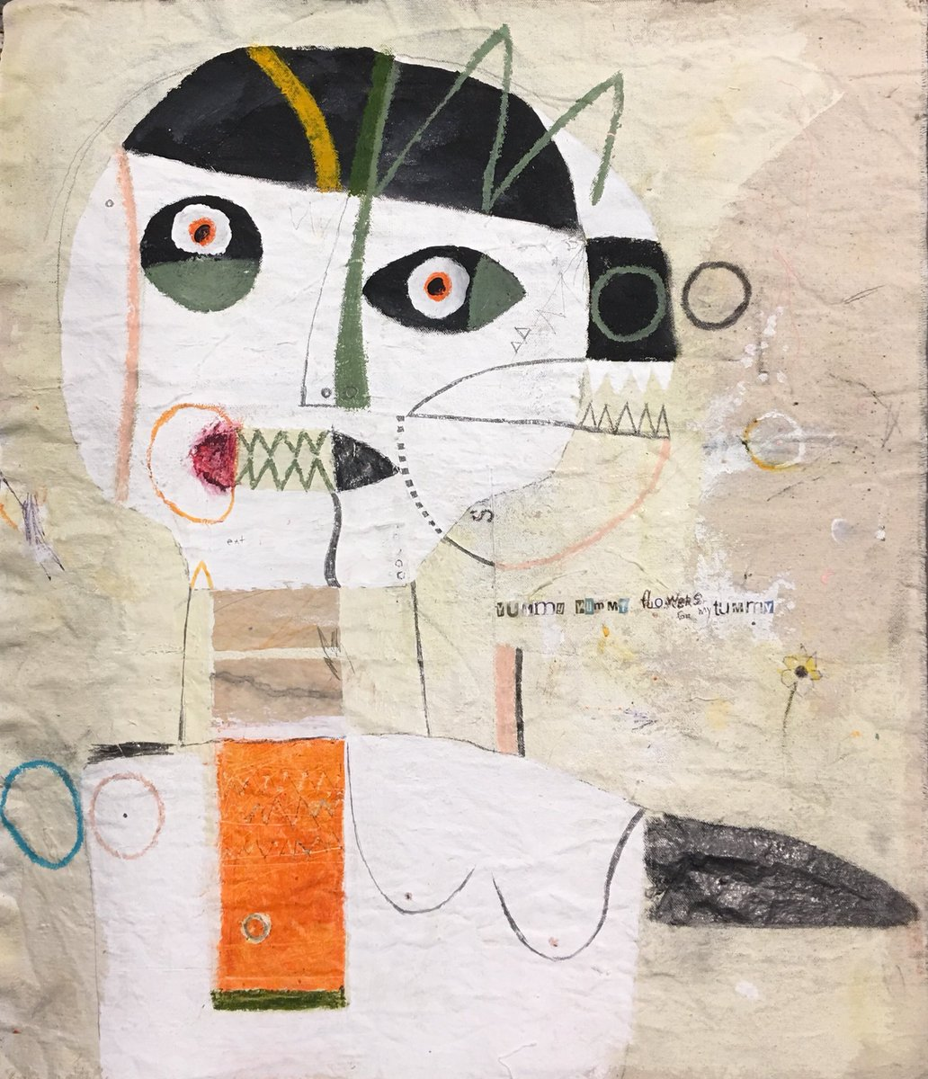 """""""She Would Eat Flowers Until She Puked...I Found That Odd."""" Purchasing one of my works is like throwing caution to the wind. Mixedmedia on unstretched canvas. #artgallery #design #Collage #Abstract #interiordesign #paintings #homedecor #artwork<br>http://pic.twitter.com/fUfDGMcb7B"""