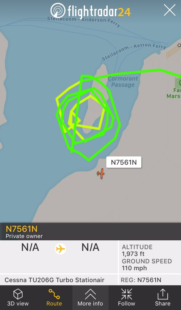 Talk on the radio of a Cessna Circling the area of the Q400 Crash site to the West of Seattle, this seems to be it. <br>http://pic.twitter.com/sugWBp8yEd