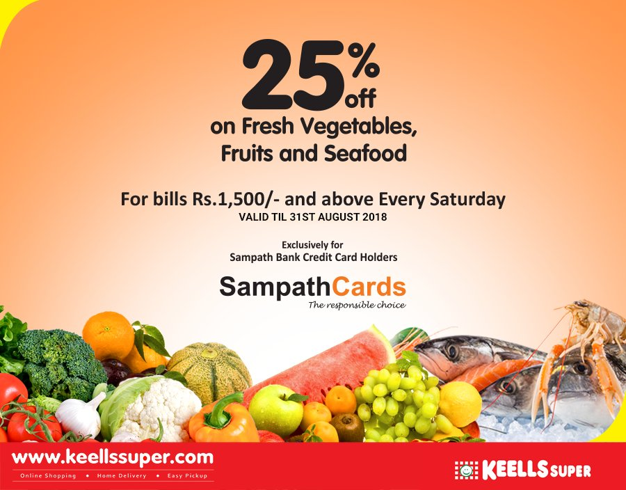 Enjoy great offers for fresh produce every Saturday at Keells Super! Flat 25% off for Sampath credit cardholders.  For bills over Rs.1500.  *T&C apply https://t.co/Pp6nkiebID