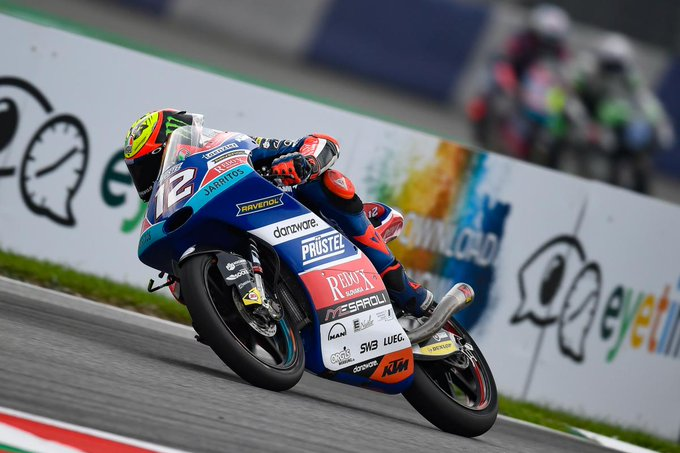 Bezzecchi sets the benchmark in damp FP3 Championship leader was nearly half a second faster than the field, with Canet and Binder P2 and P3 #MotoGP | #AustrianGP 📰 Photo