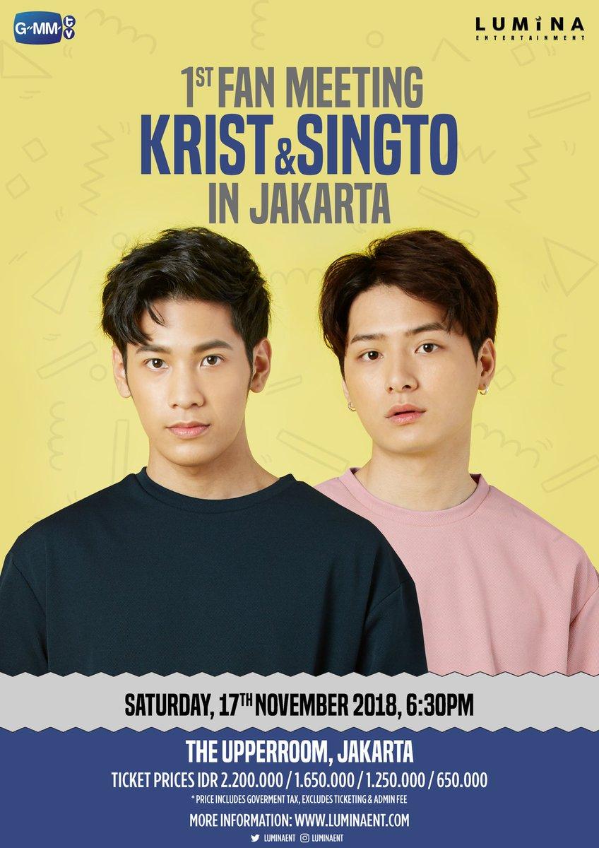 [ANNOUNCEMENT] Krist &amp; Singto 1st Fanmeeting in Jakarta - 17 November 2018, 6:30PM - The Upperroom Jakarta  ➤ Presale at  http:// luminaent.com/kspresale  &nbsp;   start from 15 August @ 14:00 (GMT+7) until 27 August 2018 ➤ General Sale at  http:// loket.com  &nbsp;   start from 1 Sept 2018 @ 14:00<br>http://pic.twitter.com/tDSxAa6FKe