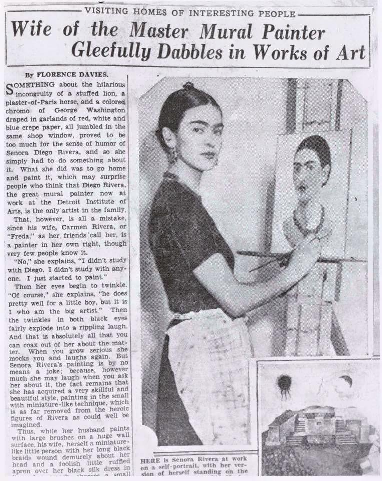 1933 newspaper article on artist Frida Kahlo #womensart