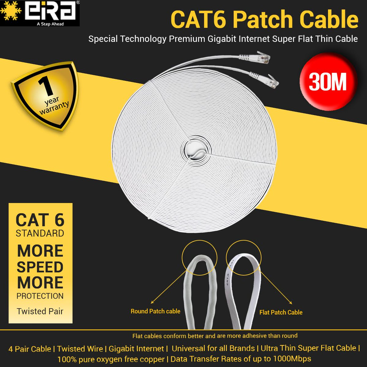Eira Tek On Twitter This Cat6 30m Patch Cable Help Is A Ultra Internet 4 Pair Wiring Diagram And Transfers Data Upto 1000 Mbps Visit Our Website Https Buffly 2vyzzqp Patchcable Ports Highspeed Superspeed Color Speed Hdtv