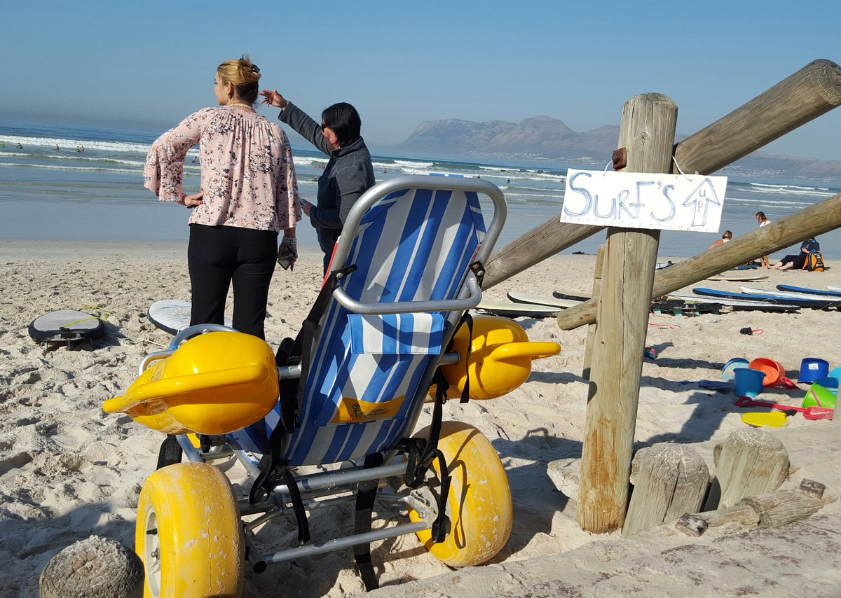 Did you know that #muizenberg beach is universally accessible and these beach buggies are available at the Parks & Rec office at Muizenberg Pavilion? #adaptivesurfing #accessibility #travel #surfing #surferscorner