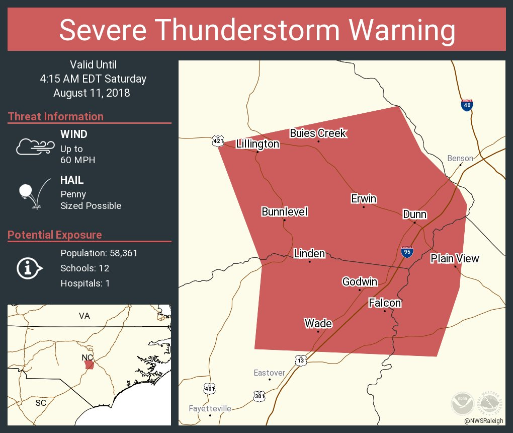Nws Raleigh On Twitter Severe Thunderstorm Warning Continues For