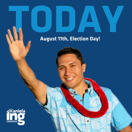 Today's the day! Polls open in 2 hours and our team is out, leaving literature at every door. #VoteING #FightForAloha   Help us win today:  http:// bit.ly/Give2TeamIng  &nbsp;  <br>http://pic.twitter.com/RIpvoC6rp0