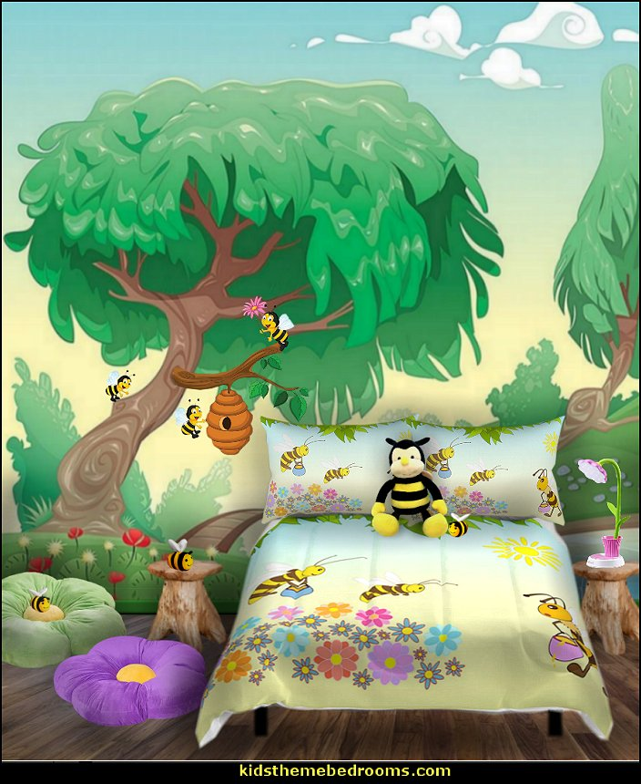 #bedroom #decor #bedding #murals #wallpaper #furniture #pillows #bees  #garden #flowers #sunflowers #decals #rusticc #plush #toys #kids #kidsrooms  ...