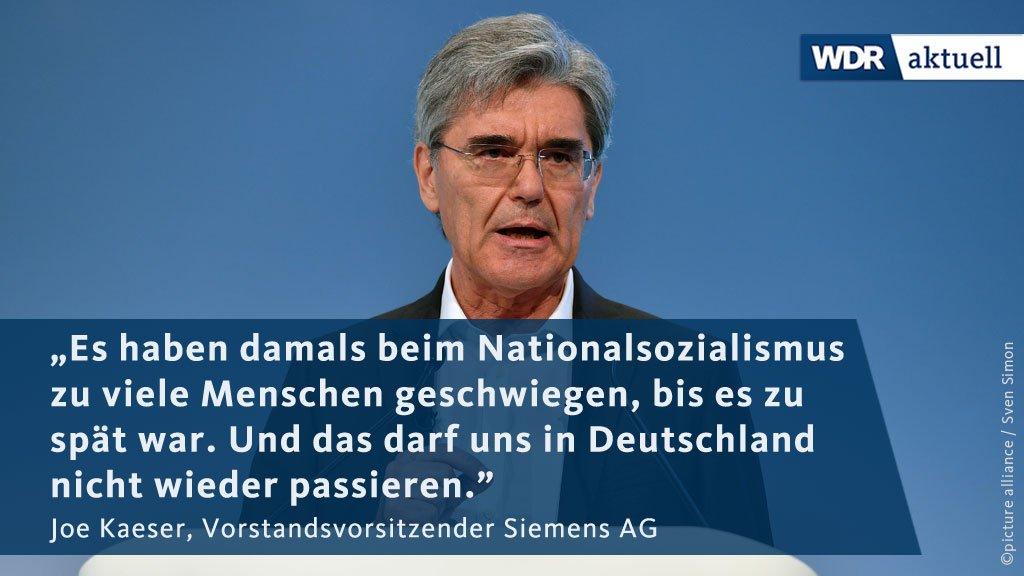 Siemens-Chef Kaeser hat erneut vor Nationalismus und Rassismus in Deutschland gewarnt. Er sagte dem @BR_Presse, die Gesellschaft müsse nein sagen, wenn Menschen ausgegrenzt würden.
