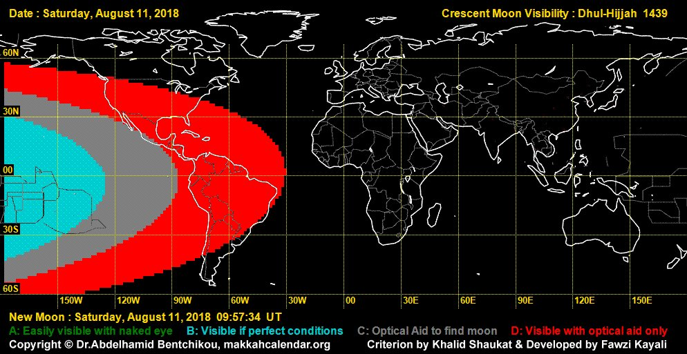 On 11th August,crescent visibility is not expected in most  countries of the world except French Polynesia.Dhul-Hijjah 2018 will start on Sunday,12th August in North, Central and South  America as well as in French Polynesia and a few westernmost countries  of Europe and Africa.