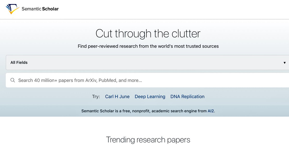 If you want to be taken serious, stop researching on @Google and either use #GoogleScholar or #AI2 #semanticscholar from @allen_ai - use #AI to raise the bar for #academic search:  https://www. semanticscholar.org / &nbsp;  <br>http://pic.twitter.com/qlG9aSPXRh
