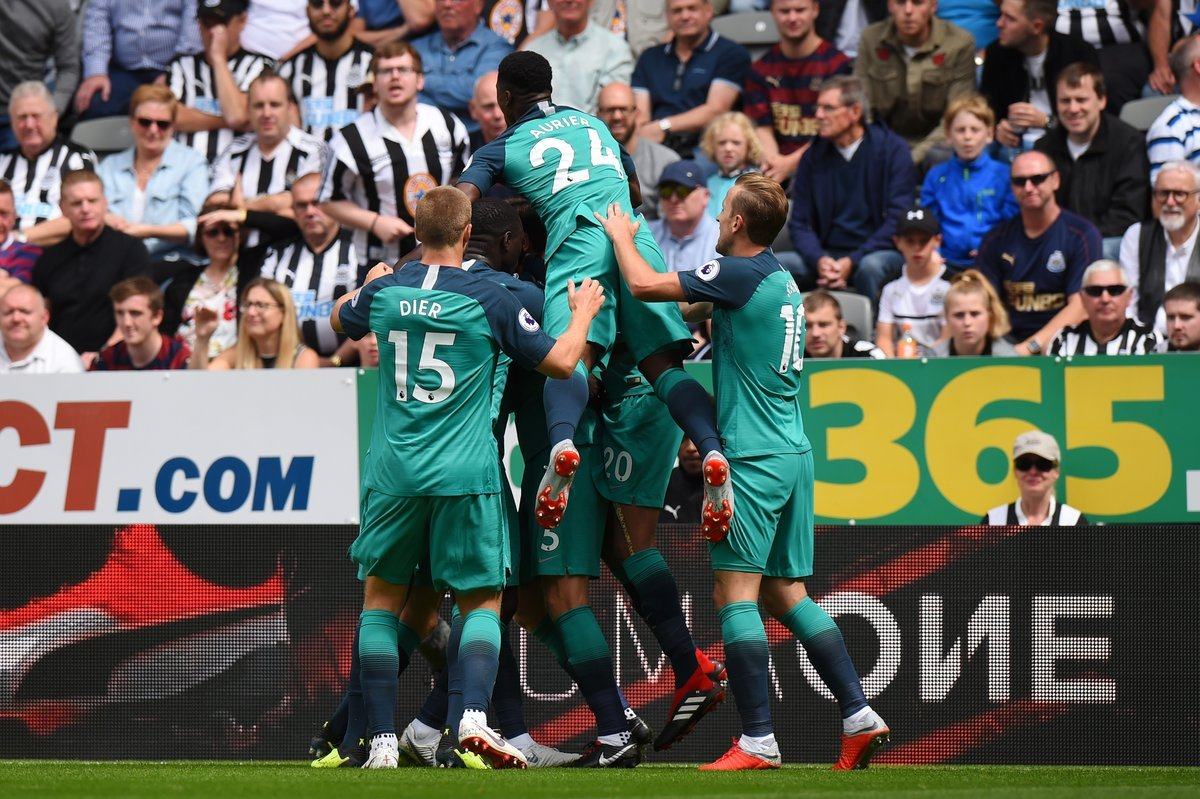 HT #NEWTOT 1-2 Thats what weve come to expect on the opening day of the Premier League. A great energetic half of football in the sun ends and if youre a Spurs fan, youll be hoping to get another goal to ease the nerves. Still all to play for here...
