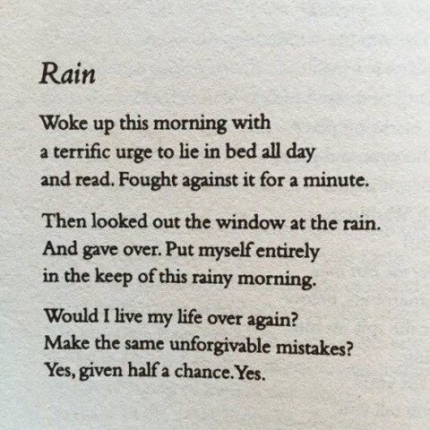 "Yesterday it was sunny and it was #NationalLazyDay Today it is raining   ""Rain""  &#39;Woke up this morning with  a terrific urge to stay in bed all day and read. Fought against it for a minute  Then         ~ Raymond Carver <br>http://pic.twitter.com/mJQDXTQadg"