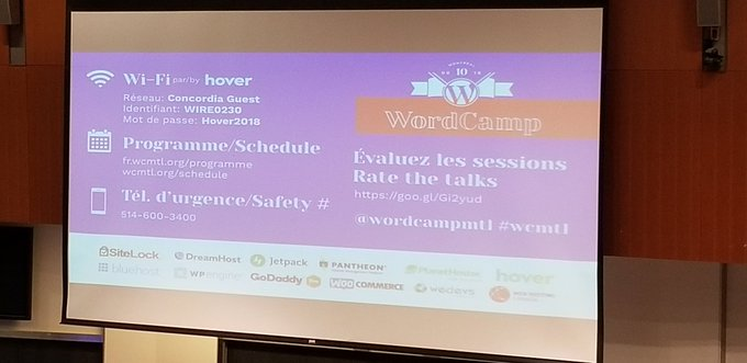 If you attend @wordcampmtl, please remember to rate the talks you go to. As a speaker, the comments I receive are always welcomed!! #wcmtl Photo