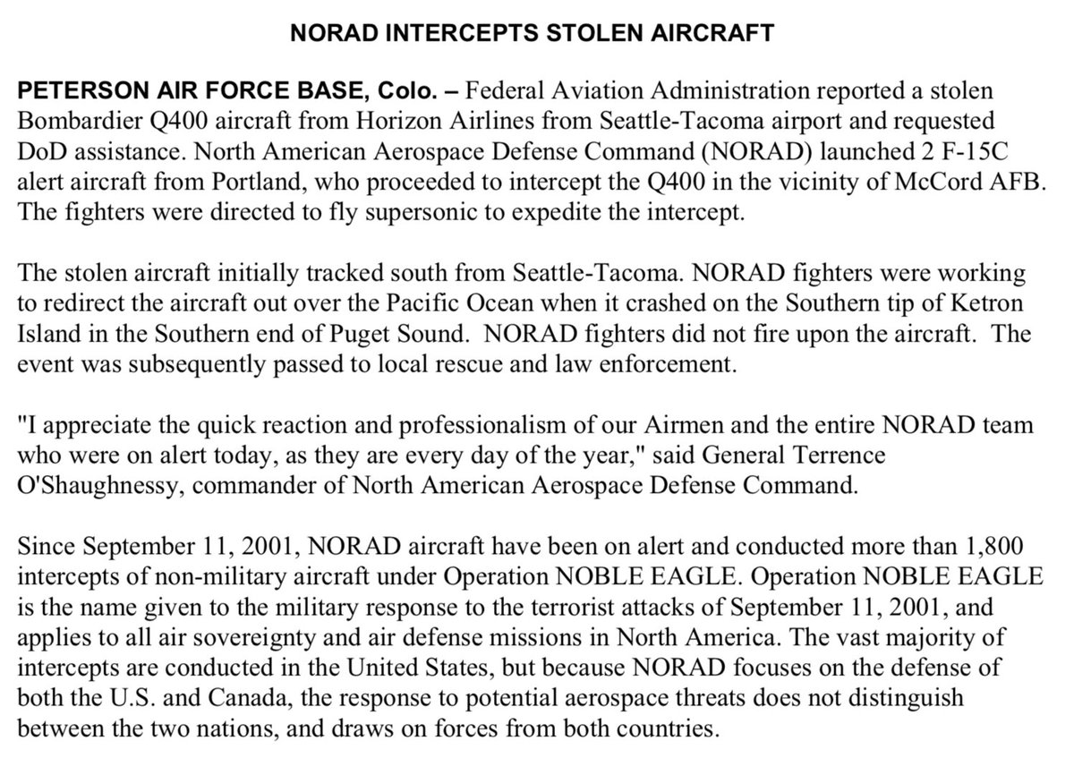 """NORAD release on stolen plane: 'NORAD fighters were working to redirect the aircraft out over the Pacific Ocean when it crashed on the Southern tip of Ketron Island in the Southern end of Puget Sound. NORAD fighters did not fire upon the aircraft."""" https://t.co/OMoYPFPvOc"""