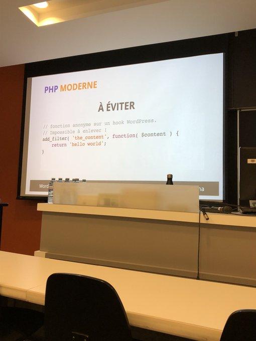 Des bonnes recommendations par @remyperona au sujet de développement moderne PHP #wcmtl Photo
