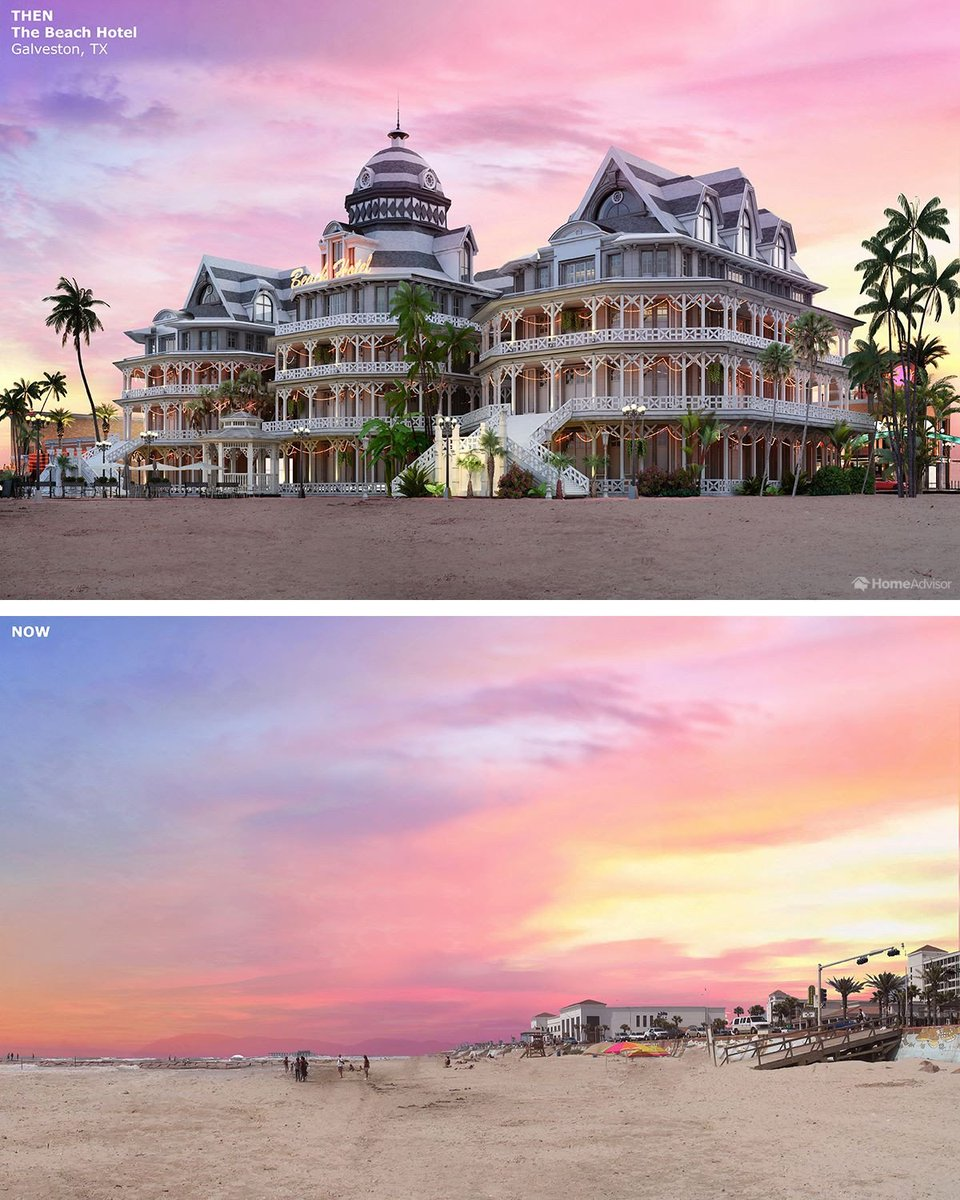 A reconstruction of the Beach Hotel in Galveston ,TX (destroyed by a mysterious fire in 1898) <br>http://pic.twitter.com/nrY64URmLy
