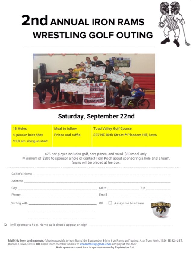 Hole sponsorships are rolling in; teams are registering...have you for our 2nd annual @IronRams golf outing? Going to have great items for silent & live auction along with raffle items. @sepwrestling is bringing a new item that will challenge your skills on a water hole! Sept 22 https://t.co/FaRV8q8nFc