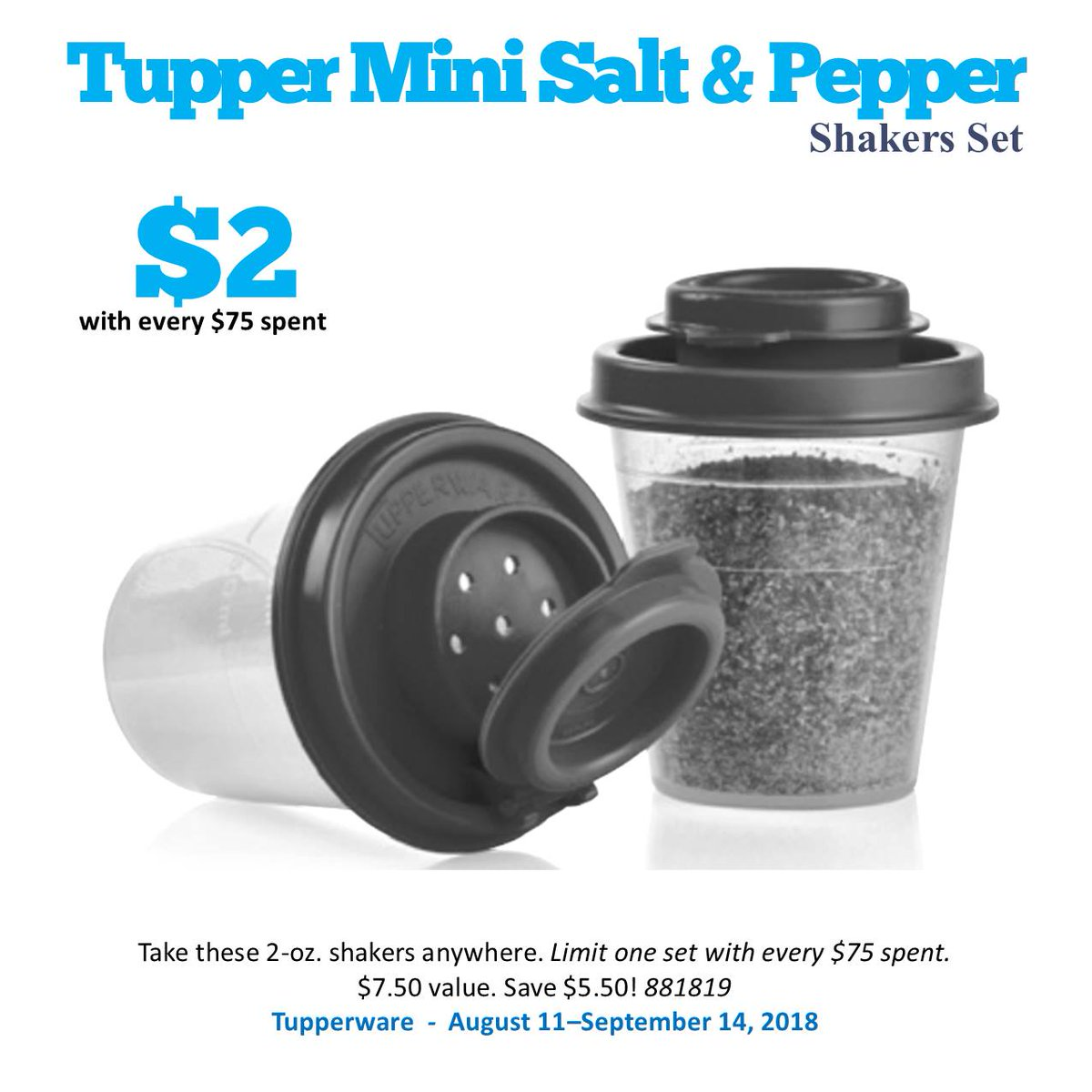 Abigail Manwell Tupperware Consultant On Twitter Tupper Mini Salt And Pepper Shakers Only 2 With A 75 Order Surprise Color Seals Contact Me To Order Tupperware Https T Co Pwtyfdo0x5