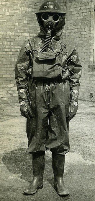 By the outbreak of World War 2 the fear of gas attack from German bombers led to widespread deployment of gas masks and hazmat suits on the home front. Britain lived in morbid fear of destruction from chemical warfare. Photo