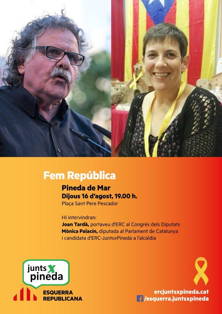 Ens veiem el dijous dia 16 a Pineda de Mar. @Esquerra_ERC @monicapalacin29