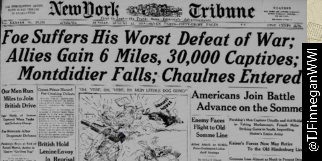 Foe suffers his worst defeat of War; Allies gain 6 miles, 30k captives  http:// ow.ly/U4KL30cjc86  &nbsp;   #wwi #wwi100 #wwidaybyday #ww1<br>http://pic.twitter.com/JlmlYxawsN