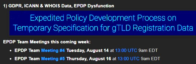 News Review: GDPR, ICANN &amp; WHOIS Data, EPDP Dysfunction  https://www. domainmondo.com/2018/08/news-r eview-gdpr-icann-whois-data-epdp.html &nbsp; …  #domains #DomainNames #trademark #CyberSecurity #privacy #dataProtection #ICANN #GDPR<br>http://pic.twitter.com/JziecNIz0y