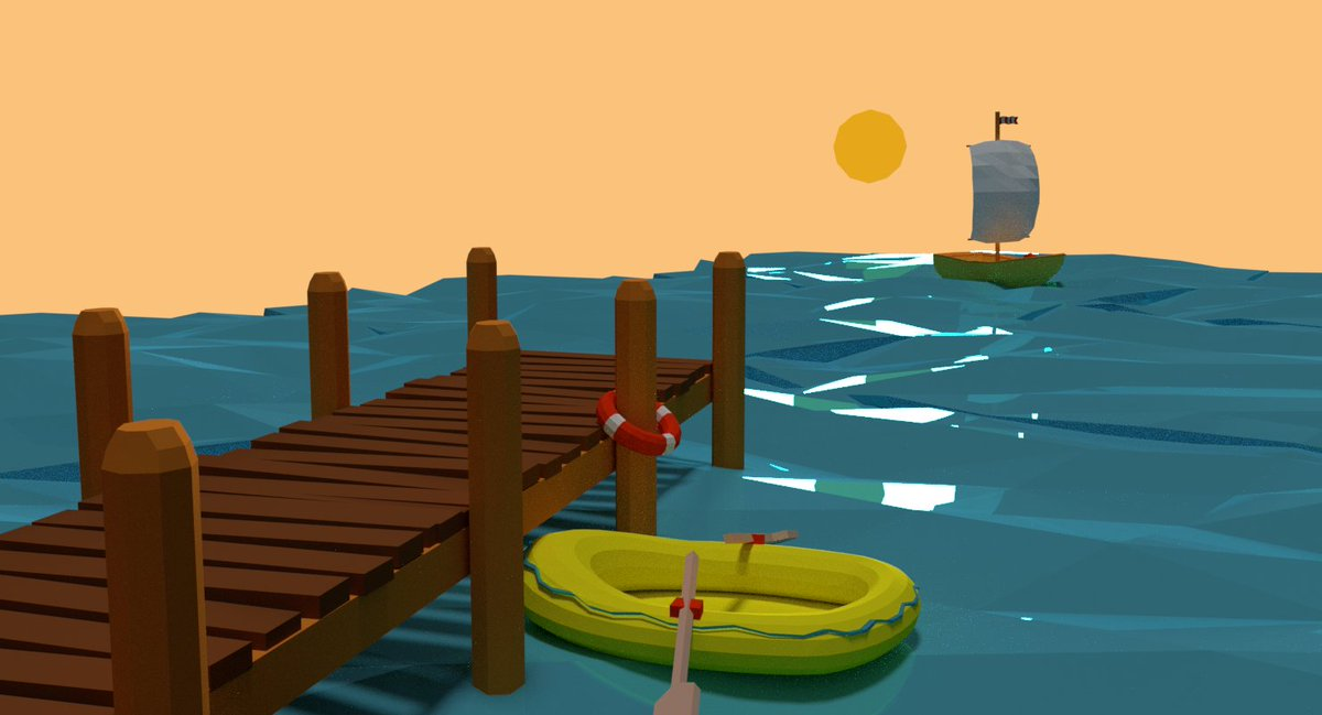 Just in time to capture sunset at the #Dock @LowPolyDaily #lowpoly_dailies #3d #b3d #lowpoly #sunset<br>http://pic.twitter.com/eFjXnWWSru