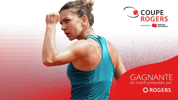 SI-MO-NA 🙌 @Simona_Halep réserve son billet pour la finale de la #CoupeRogers The World # 1 scores a solid 6-4, 6-1 win against Barty to reach the final for a 3rd time in Canada. Photo