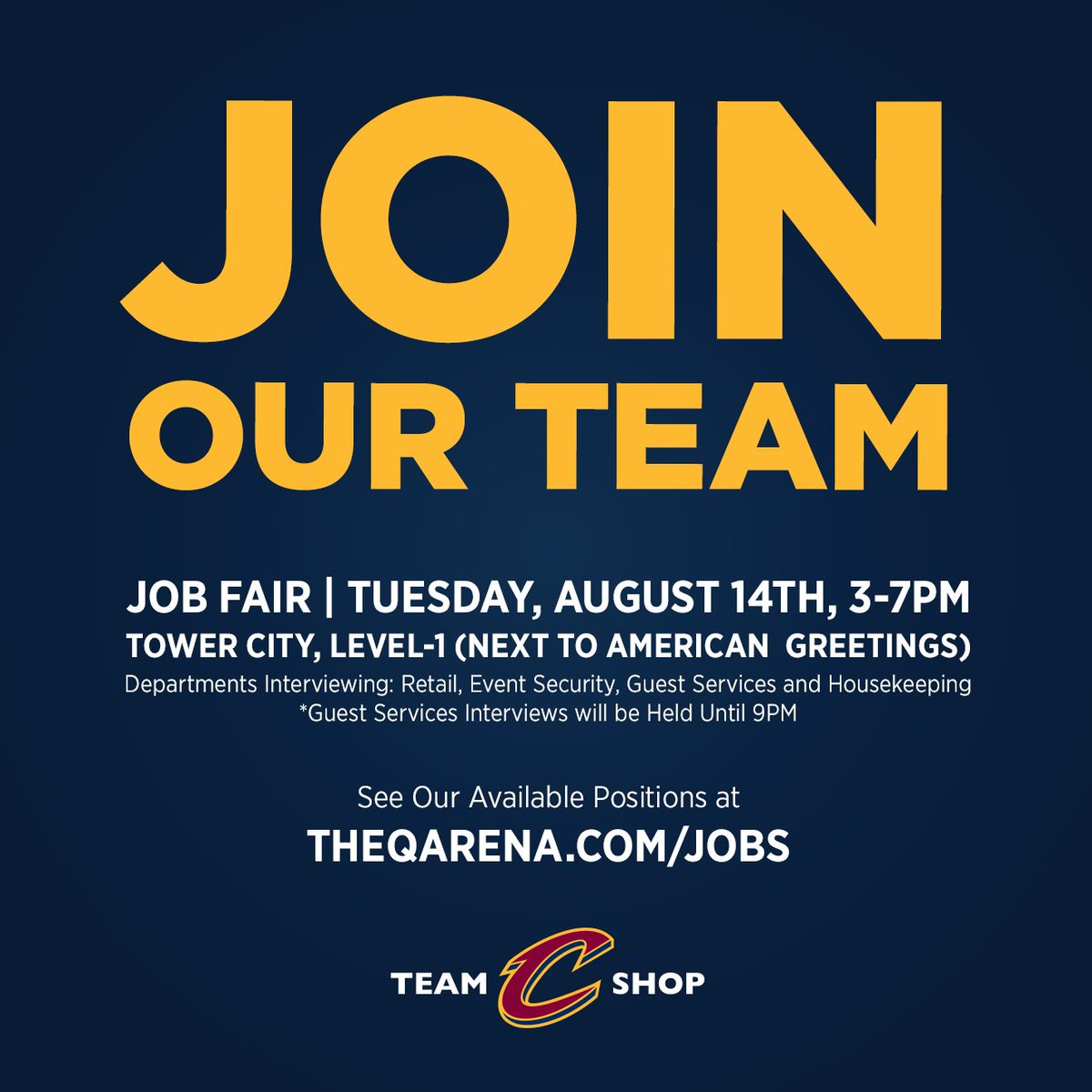 Cavaliers team shop on twitter attend the cavs job fair for on cavaliers team shop on twitter attend the cavs job fair for on site interviews for retail event security guest services housekeeping m4hsunfo