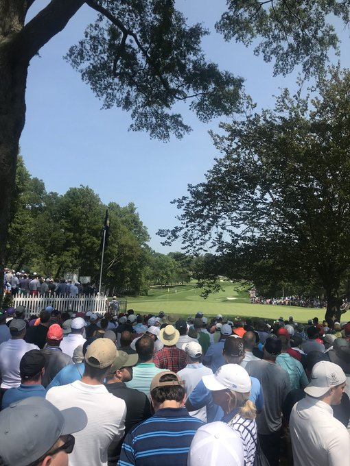 Watching Tiger in person isn't fun. His gallery is too deep! Bucket list tho. Serena US Open is my next bucket list!! Photo