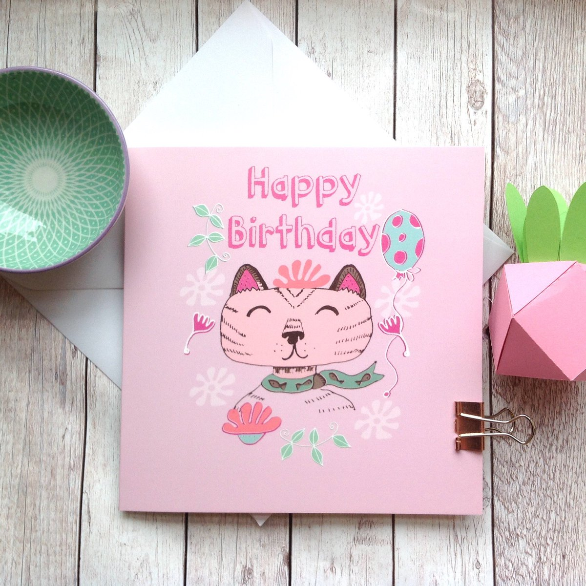 Cat Birthday Card Happy Lover Lady Girls Coworker Best Friend Aunt Cards Pet Lovers Cute Animal Fan