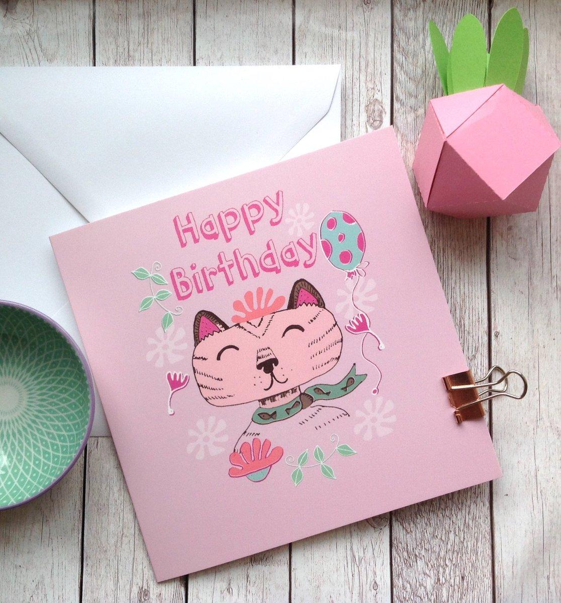 Slumbermonkey Design On Twitter Cat Birthday Card Happy Lover Lady Girls Coworker Best Friend Aunt Cards Pet Lovers