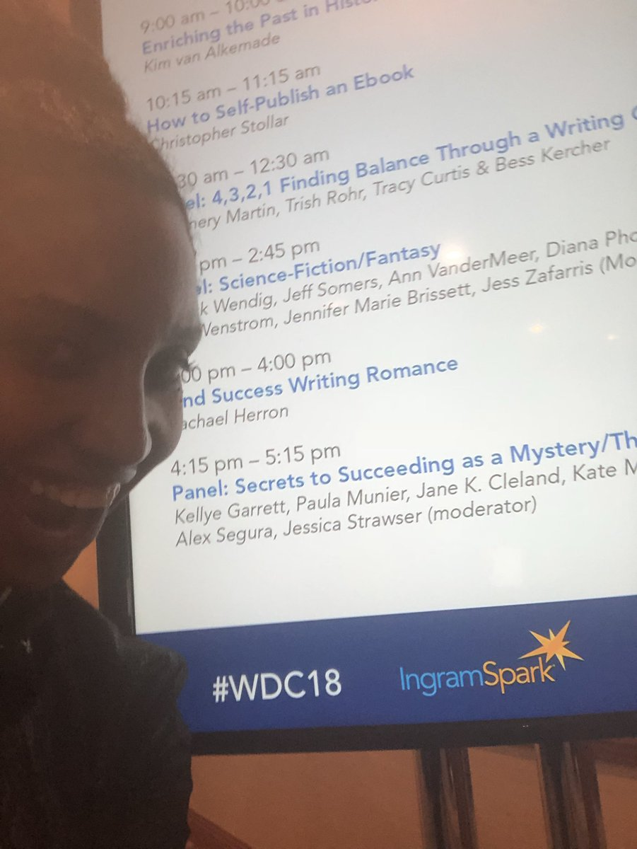 And here is a selfie before the second panel. Stop by at 4:15 to learn all the mystery secrets. #WDC18 <br>http://pic.twitter.com/M4dEd0eAn4
