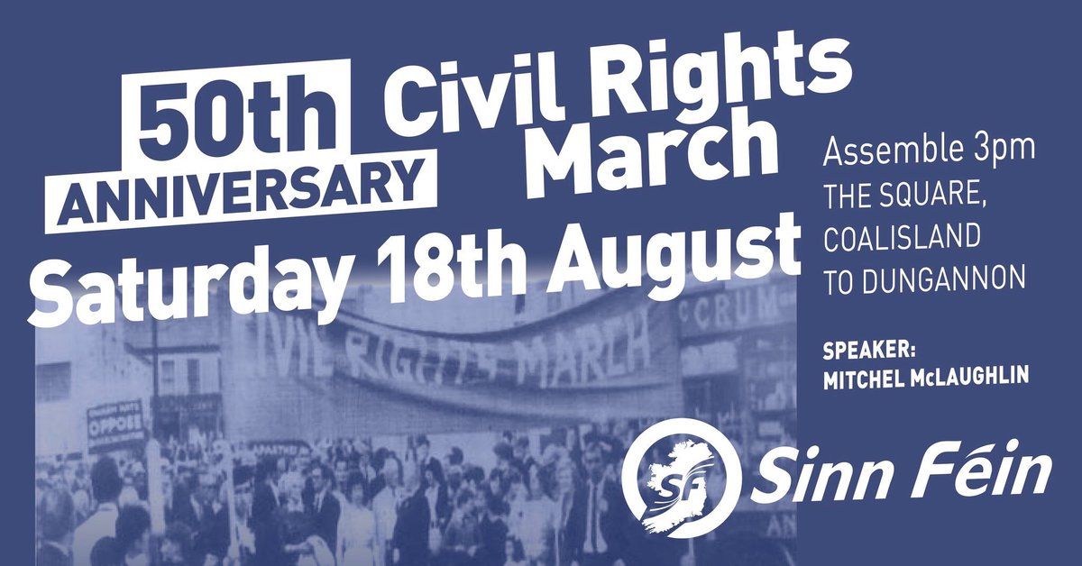 Come and join us in retracing the route of the Coalisland to Dungannon Civil Rights March next Saturday 18th starting at 3pm from the Square, Coalisland.  And remember that the campaign for Civil Rights is not over yet  #CivilRights #MarraigeEquality #AchtAnois #TimeForTruth<br>http://pic.twitter.com/BvJmKQCahK