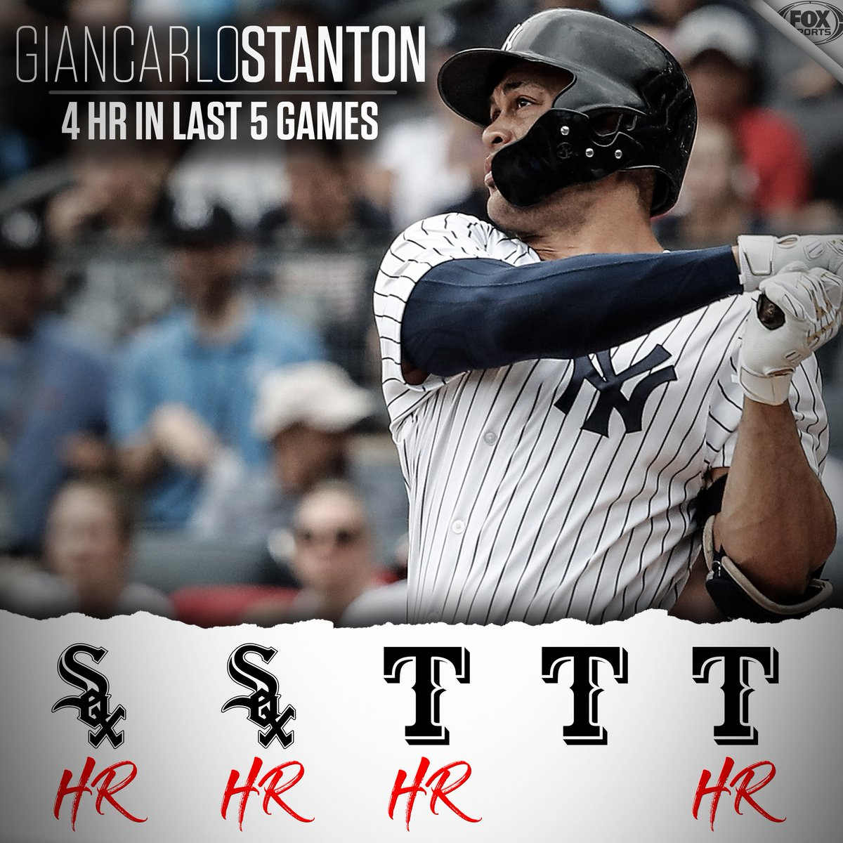 Stanton homers for the 4th time in 5 games.  Yankees win for the 5th time in 6 games.  #StartSpreadingTheNews