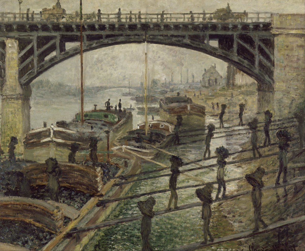 Claude Monet - The Coalmen - c 1875 Water lilies &amp; dainty Japanese bridges spring to mind when Monet is mentioned. This bleak scene, with looming bridge, heavy barges &amp; mechanical figures is unusual. It just caught Monet's eye as his train to Paris crossed the Seine at Asnière. <br>http://pic.twitter.com/c5P5a59rgw