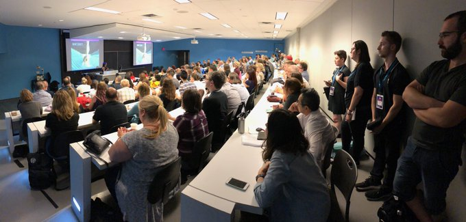 Standing room only as @designisyummy teaches us about current web design trends at #WCMTL Photo