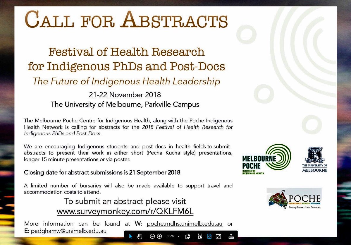Call for Abstracts for the Festival of Health Research for Indigenous PhDs and Post-Docs - 'The Future of Indigenous Health Leadership&#39; at the University of Melbourne, 21-22 November, 2018. Abstracts close on 21 September 2018!  <br>http://pic.twitter.com/f59Gs88iMC