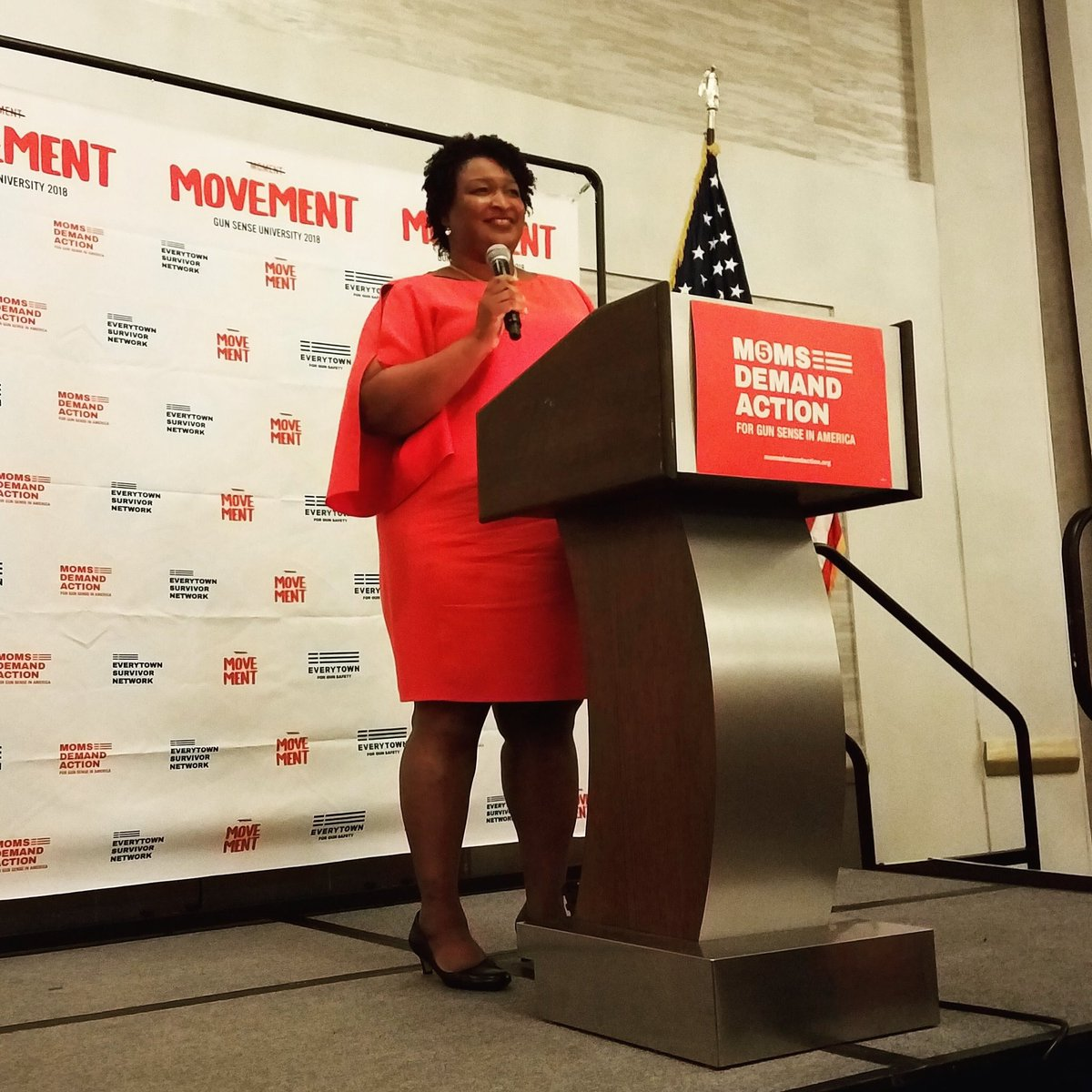 Thank you, @staceyabrams, for speaking at #GSU18. Many of our 1,000+ attendees are phone-banking for you today - and Georgia @MomsDemand volunteers will work for you across the state - because as #GAgov you will fight for gun sense and gun safety. #TeamAbrams #GADems #gapol <br>http://pic.twitter.com/p4H8qdlrWh
